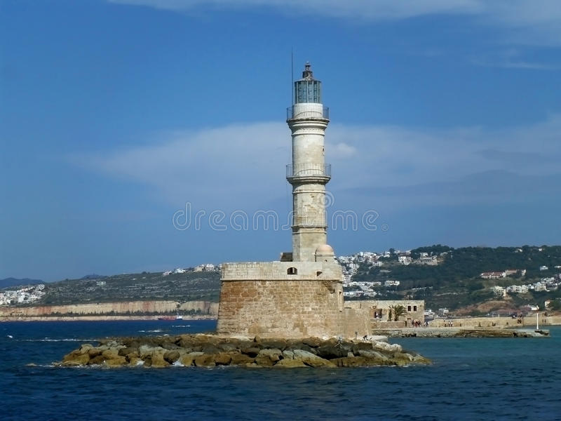 Венецианский маяк Chania, историческая достопримечательность на порте Chania старом на острове Крита стоковое фото rf