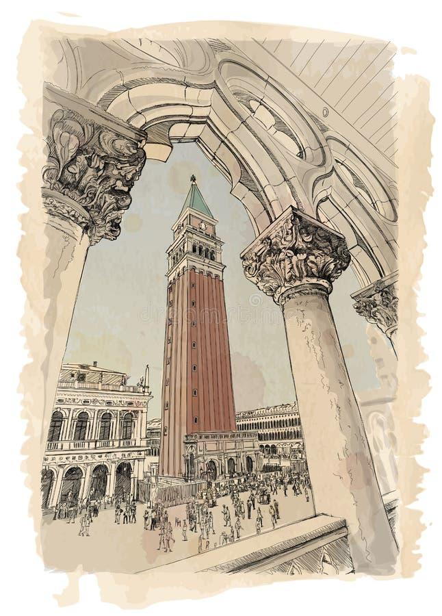 Венеция - аркада Сан Marco и Kampanila иллюстрация штока