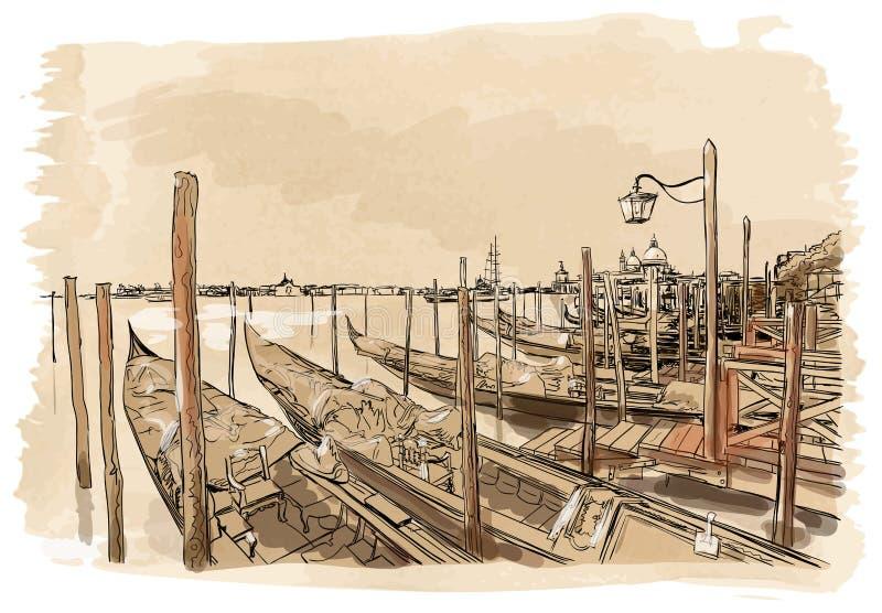 Венеция Аркада Сан Marco набережной иллюстрация штока