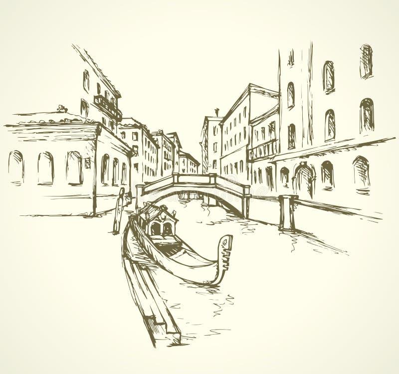 Венеция вектор архива eps городского пейзажа включенный иллюстрация штока