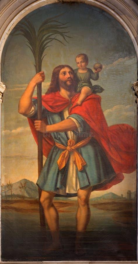 Венеция - St Christopher Giambattista Cima da Conegliano (1460 до 1518) в церков Chiesa di Сан Stefano стоковое изображение rf
