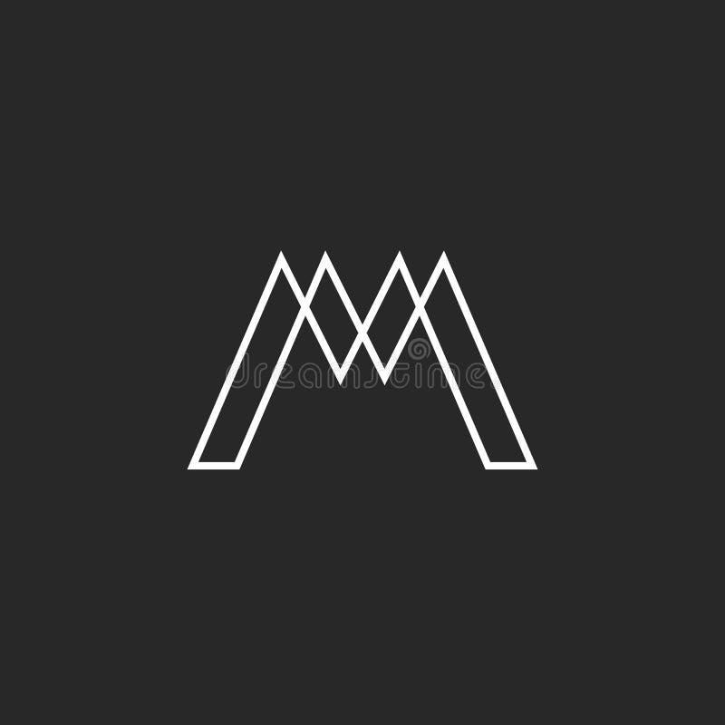 Вензель письма логотипа m, тонкая линия сплетя геометрическую форму, элемент дизайна хипстера модель-макета иллюстрация вектора
