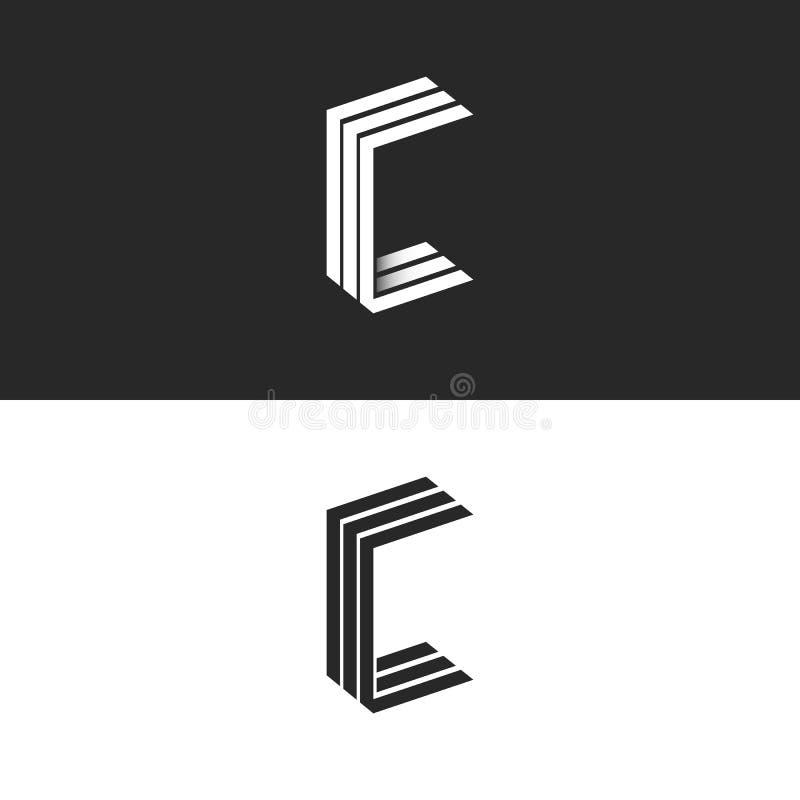 Вензель письма c логотипа идеи 3D равновеликий, эмблема CCC инициалов группы черно-белая простая, линии геометрическая форма пара иллюстрация штока