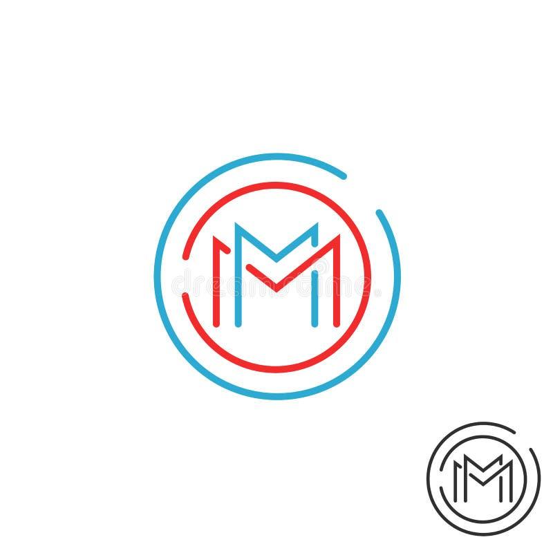 Вензель рамки круга логотипа письма m, форма техника линии круглого элемента дизайна границы, красного модель-макета и голубого г иллюстрация вектора