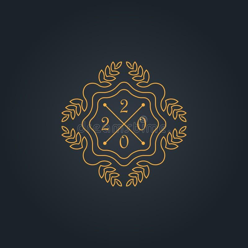 Вензель с шаблоном даты Нового Года, простых и грациозных дизайна 2020 - Элегантный дизайн lineart r иллюстрация вектора