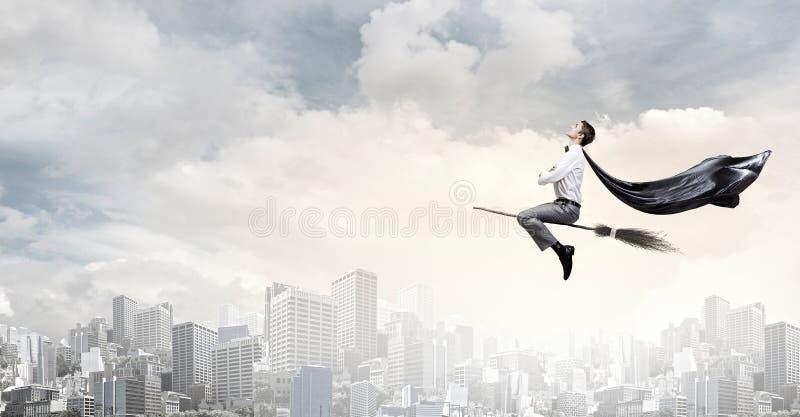 Веник езды человека стоковое изображение rf