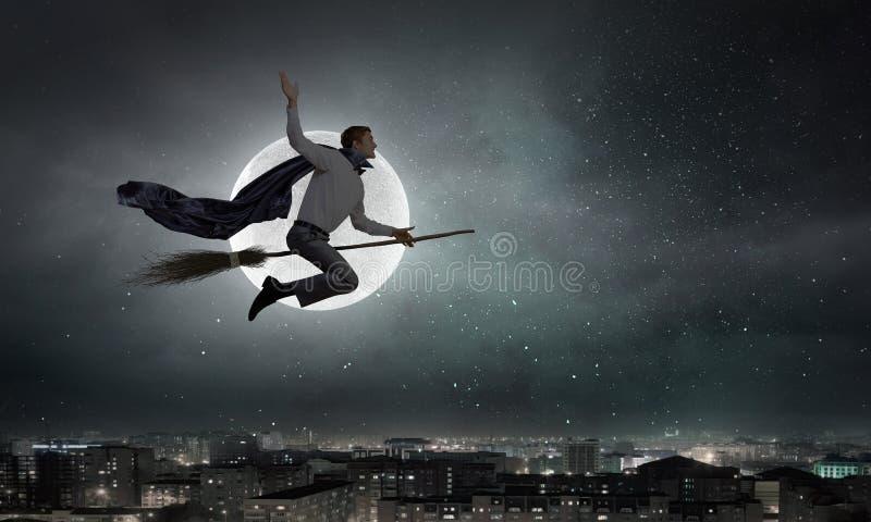 Веник езды человека стоковое фото rf