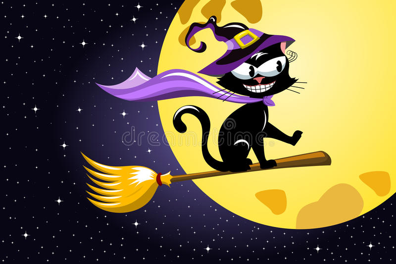 Веник летания черного кота ночи хеллоуина иллюстрация штока