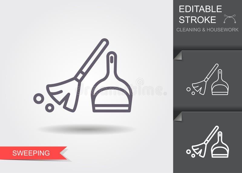 Веник и dustpan Линия значок с editable ходом с тенью иллюстрация штока