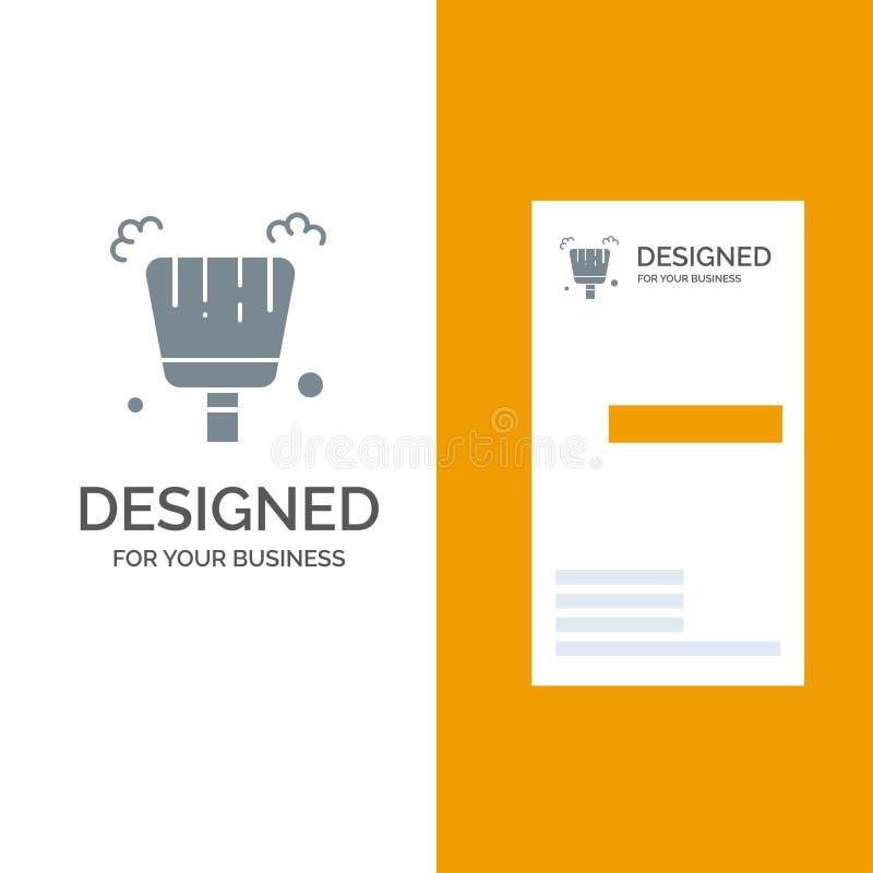 Веник, Dustpan, дизайн логотипа стреловидности серые и шаблон визитной карточки иллюстрация штока