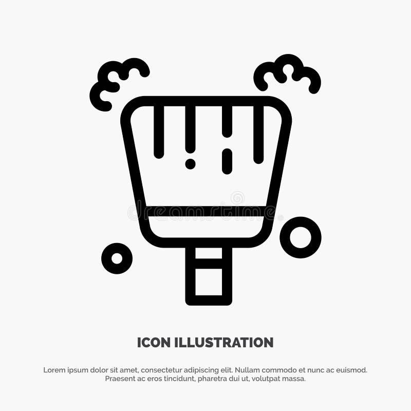 Веник, Dustpan, линия вектор стреловидности значка бесплатная иллюстрация