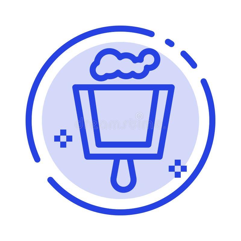 Веник, Dustpan, линия значок голубой пунктирной линии стреловидности иллюстрация штока
