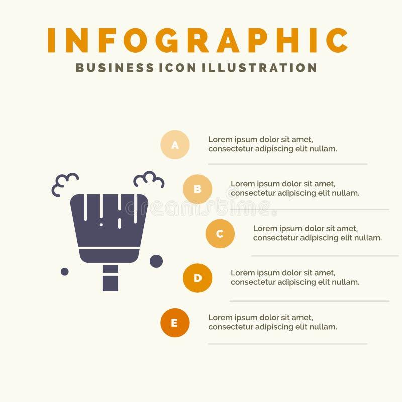 Веник, Dustpan, предпосылка представления шагов Infographics 5 значка стреловидности твердая иллюстрация вектора