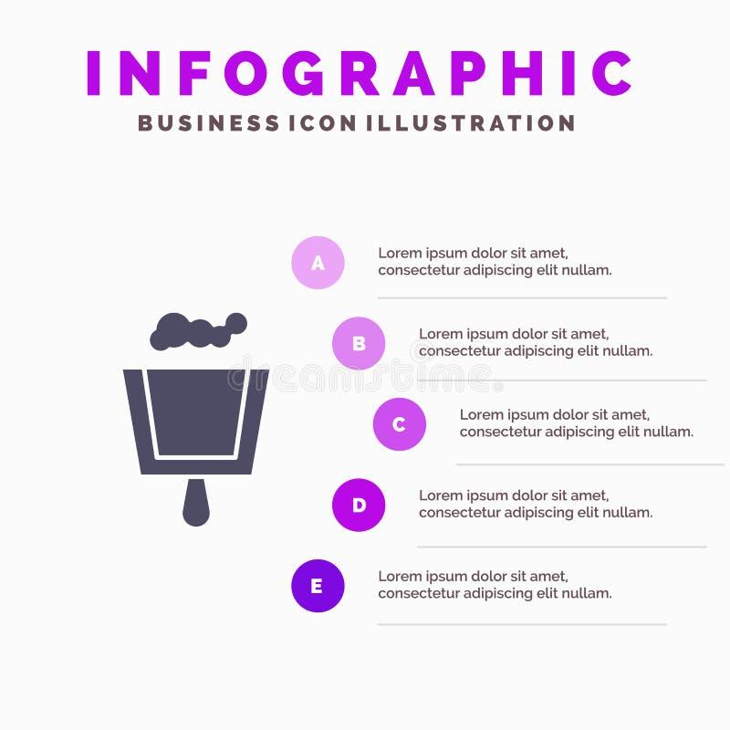 Веник, Dustpan, предпосылка представления шагов Infographics 5 значка стреловидности твердая бесплатная иллюстрация
