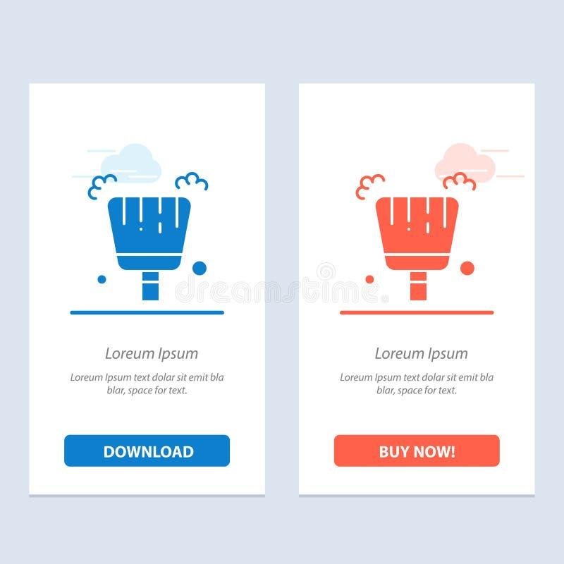 Веник, Dustpan, синь стреловидности и красная загрузка и купить теперь шаблон карты приспособления сети иллюстрация штока