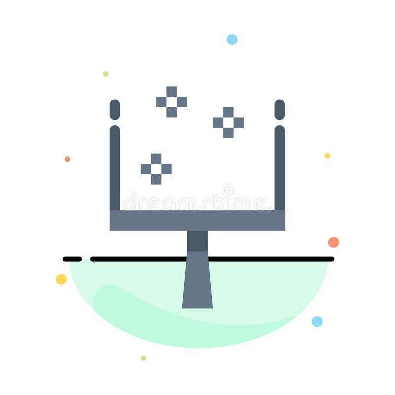 Веник, Dustpan, шаблон значка цвета конспекта стреловидности плоский иллюстрация штока