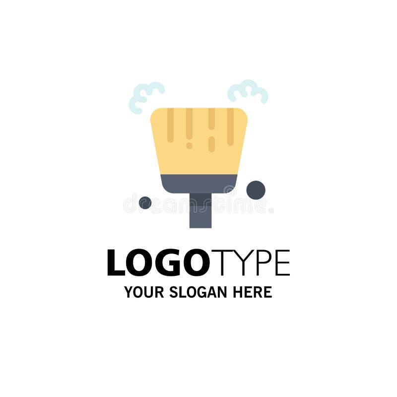 Веник, Dustpan, шаблон логотипа дела стреловидности r иллюстрация вектора
