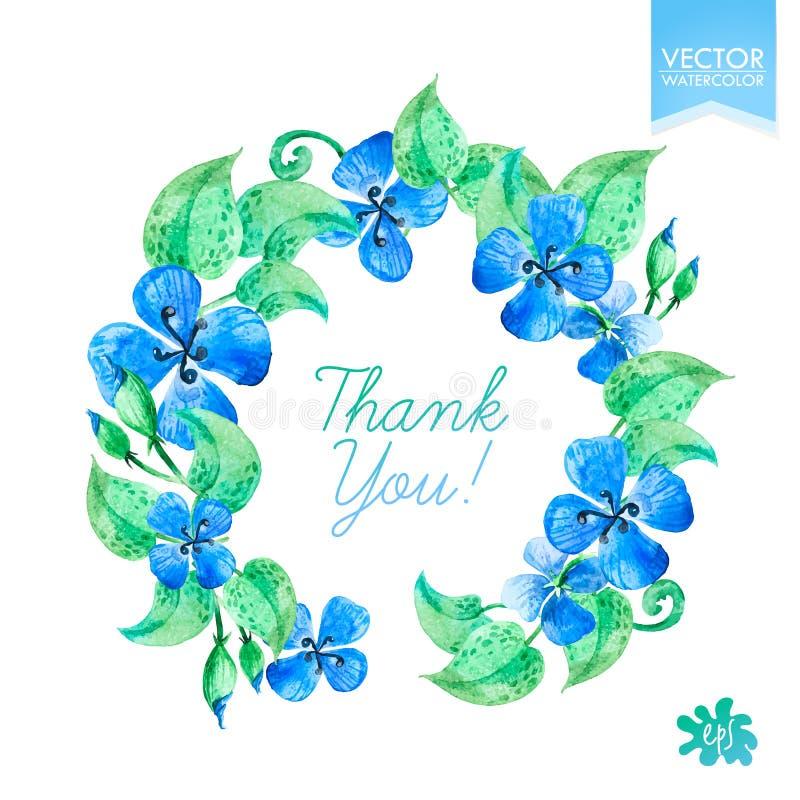 Венки акварели красочные круговые флористические с голубыми цветками иллюстрация вектора
