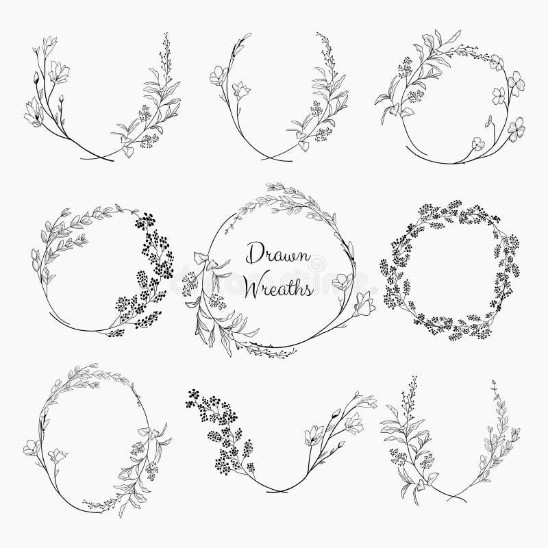 Венки Doodle с ветвями, травами, заводами и цветками бесплатная иллюстрация
