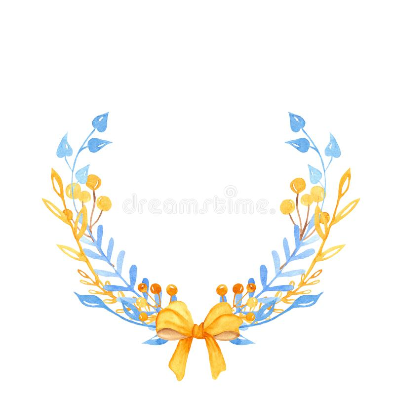 Венок акварели зимы, рамка, знамя с листьями, цветками, ветвями ягод иллюстрация вектора