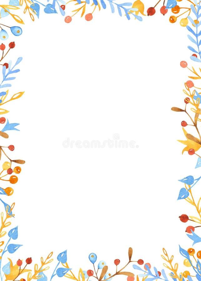 Венок акварели зимы, рамка, знамя с листьями, цветками, ветвями ягод бесплатная иллюстрация