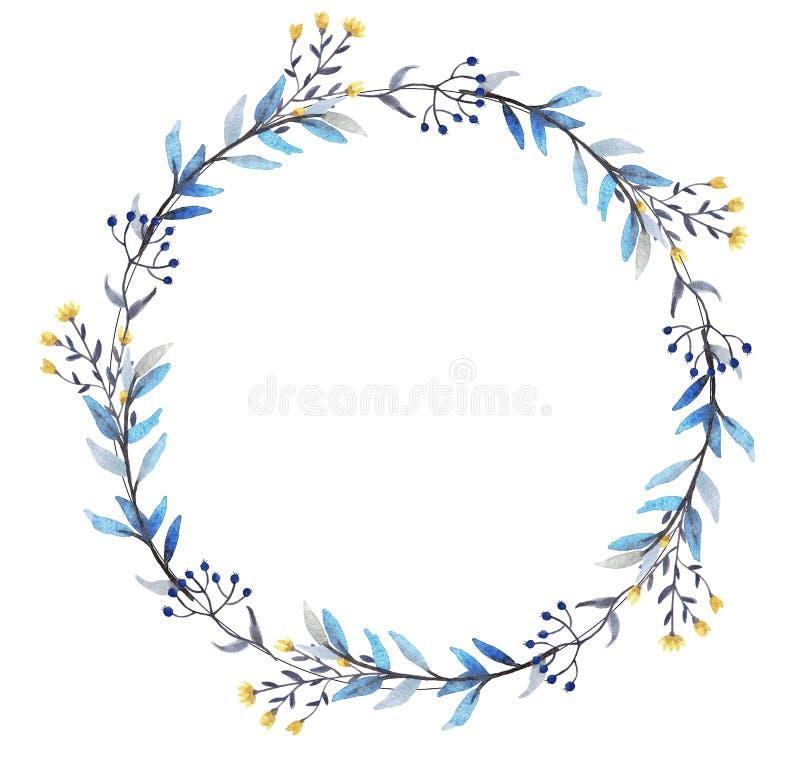 Венок акварели флористический иллюстрация штока