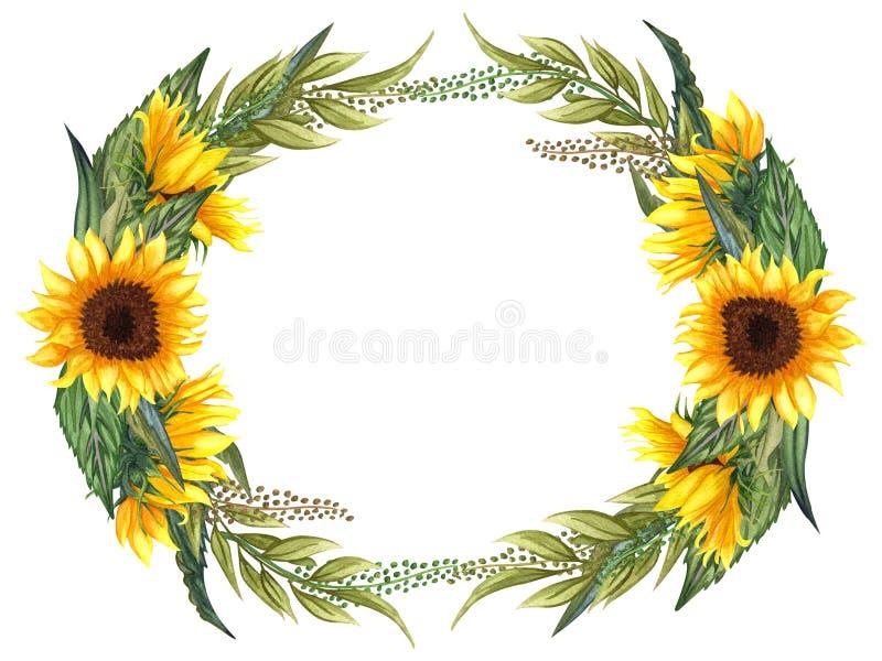 Венок акварели флористический с солнцецветами, листьями, листвой, ветвями, листьями папоротника и местом для вашего текста бесплатная иллюстрация