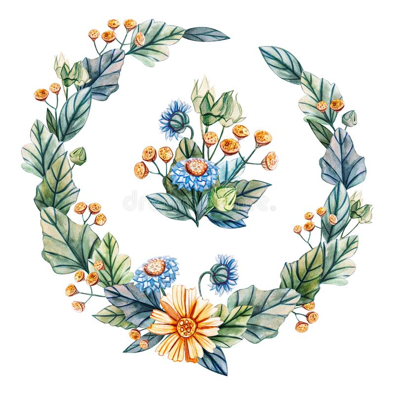 Венок акварели Wildflowers иллюстрация штока