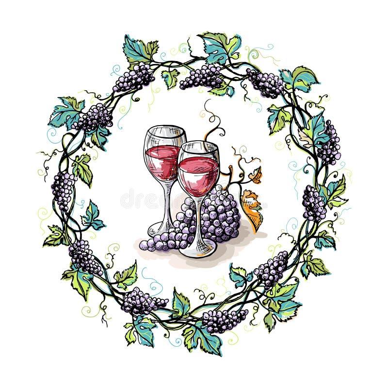 Венок акварели от стекел виноградины и листьев иллюстрация вектора