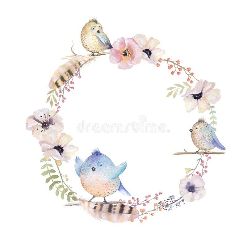 Венок акварели флористический Рамка Watercolour естественная: листья, fea бесплатная иллюстрация