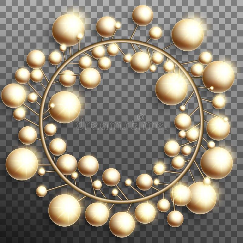 Венок безделушек золота рождества над прозрачной предпосылкой Вектор EPS 10 бесплатная иллюстрация