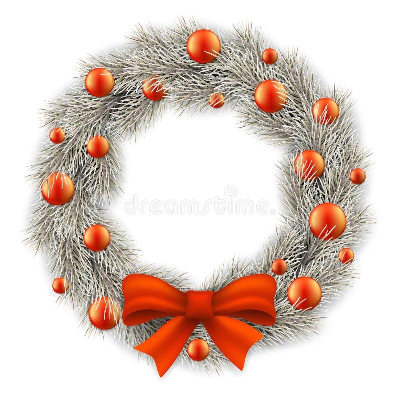 Венок белого рождества украсил шарики иллюстрация вектора