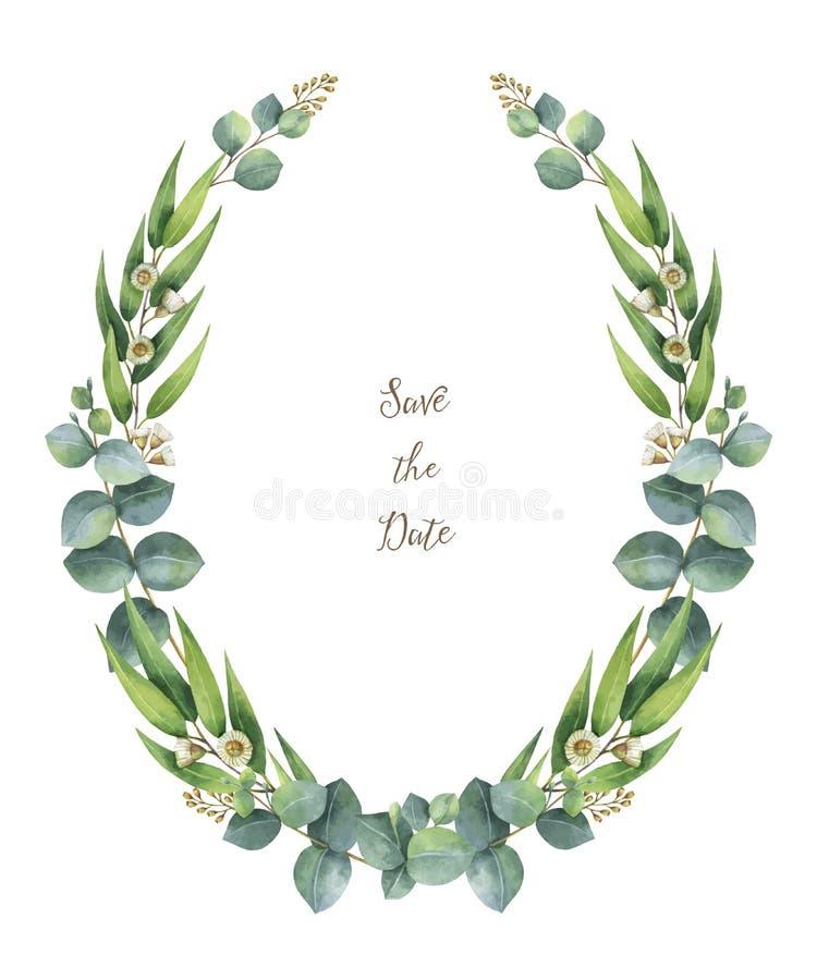 Венок вектора акварели с зелеными листьями и ветвями евкалипта иллюстрация штока