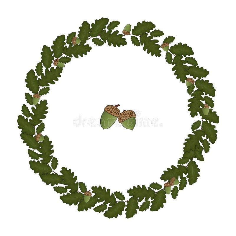 Венок вектора листьев дуба иллюстрация штока