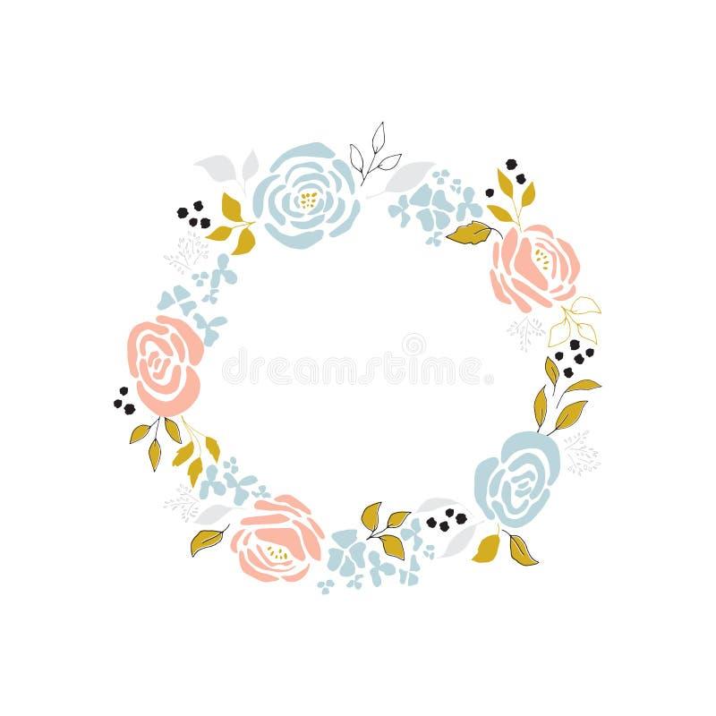 Венок вектора флористический бесплатная иллюстрация