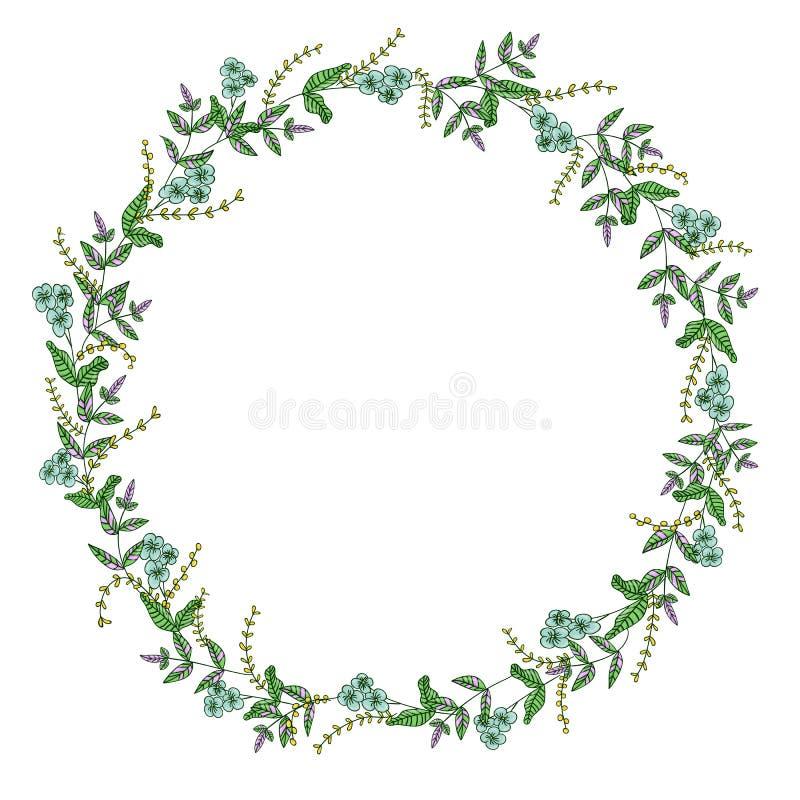 Венок вектора цветков и трав сада Иллюстрация стиля мультфильма руки вычерченная Милая рамка лета или весны для свадьбы, праздник иллюстрация штока