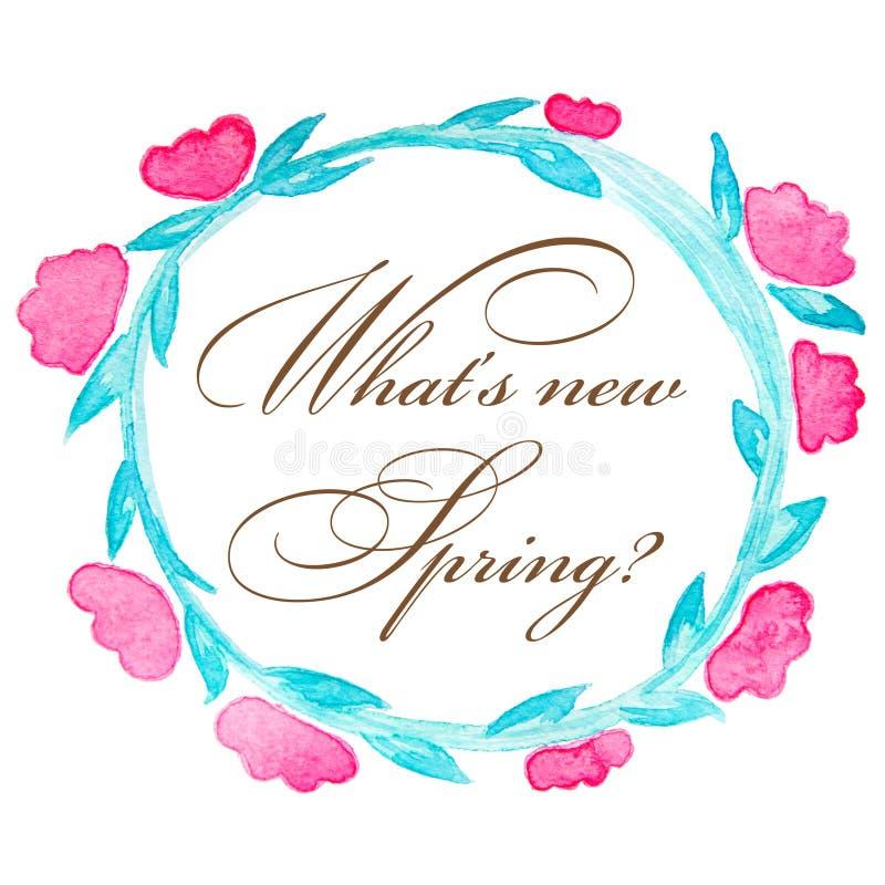 Венок весны Флористический венок тюльпанов цветет изолированный на белой предпосылке с приветствиями стоковые фото