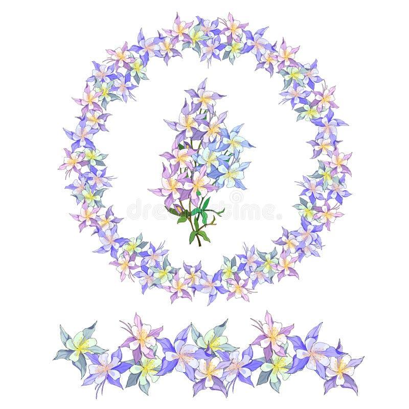 Венок весны цветочного узора Чувствительные пурпурные цветки для украшать карты, поздравления дизайна иллюстрация штока