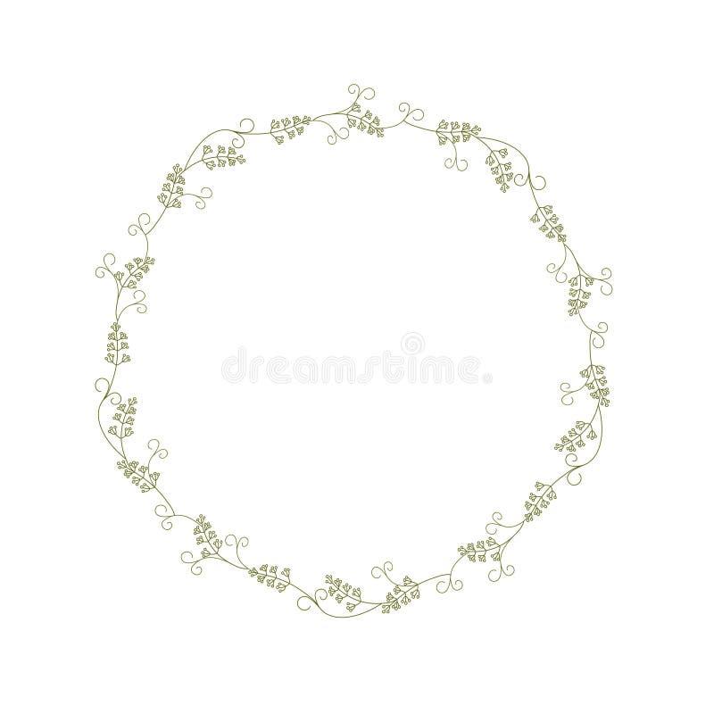 Венок ветвей и травинок с усиками Картина tracery вектора вектора цвета иллюстрация штока