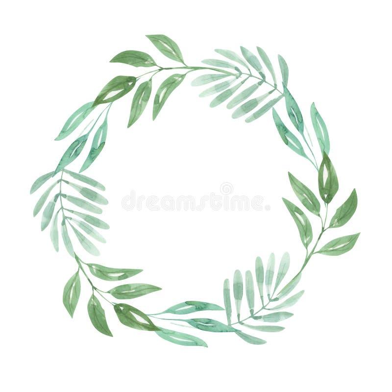 Венок выходит листве зеленая свадьба гирлянды природы акварели лист иллюстрация штока