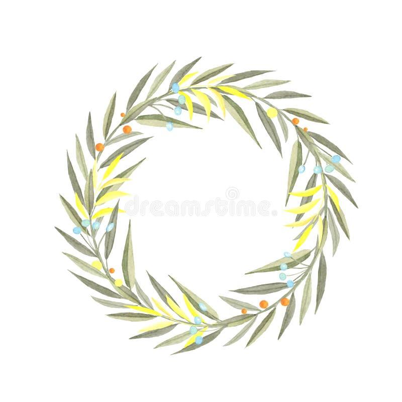 Венок акварели ветвей иллюстрация штока