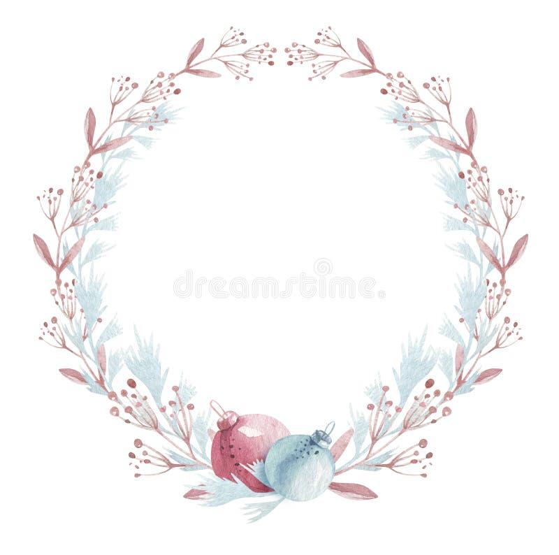 Венок ели зимы акварели флористический Веселое рождество и С Новым Годом! дизайн карты украшения праздника r стоковая фотография rf