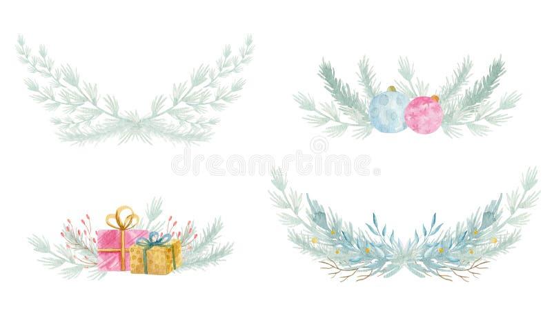 Венок ели зимы акварели флористический Веселое рождество и С Новым Годом! дизайн карты украшения праздника r иллюстрация штока