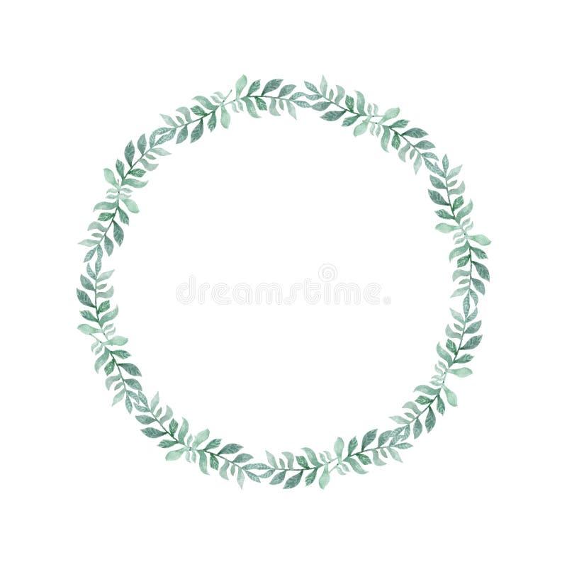 Венок зеленого цвета акварели листьев Нарисованная рукой иллюстрация стиля шаржа Милая рамка круга для свадьбы, праздника или диз бесплатная иллюстрация