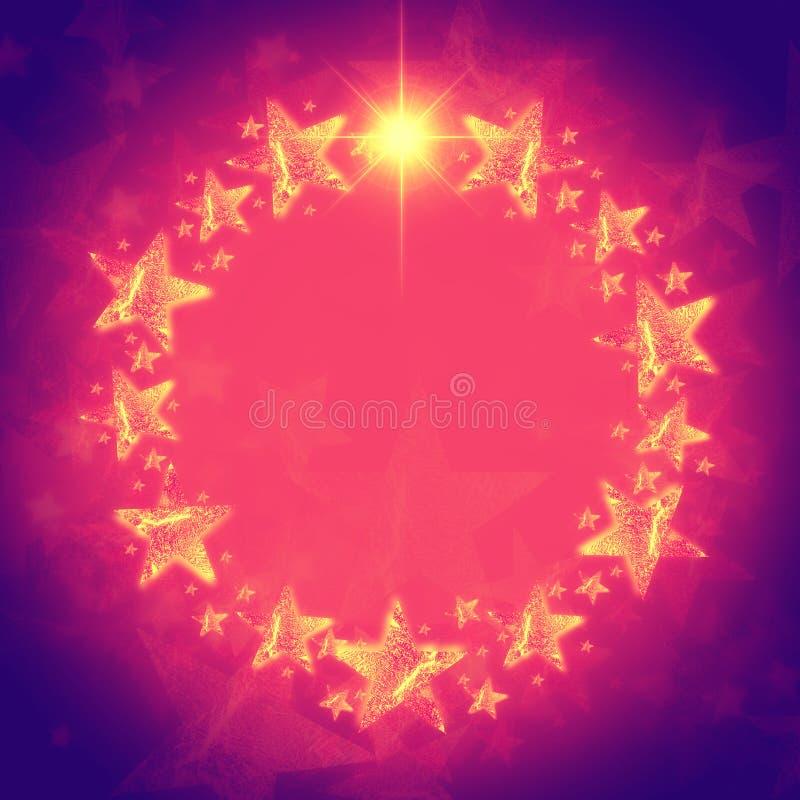 Венок Кристмас золотистых звезд в лиловом и розовом с sp текста иллюстрация вектора