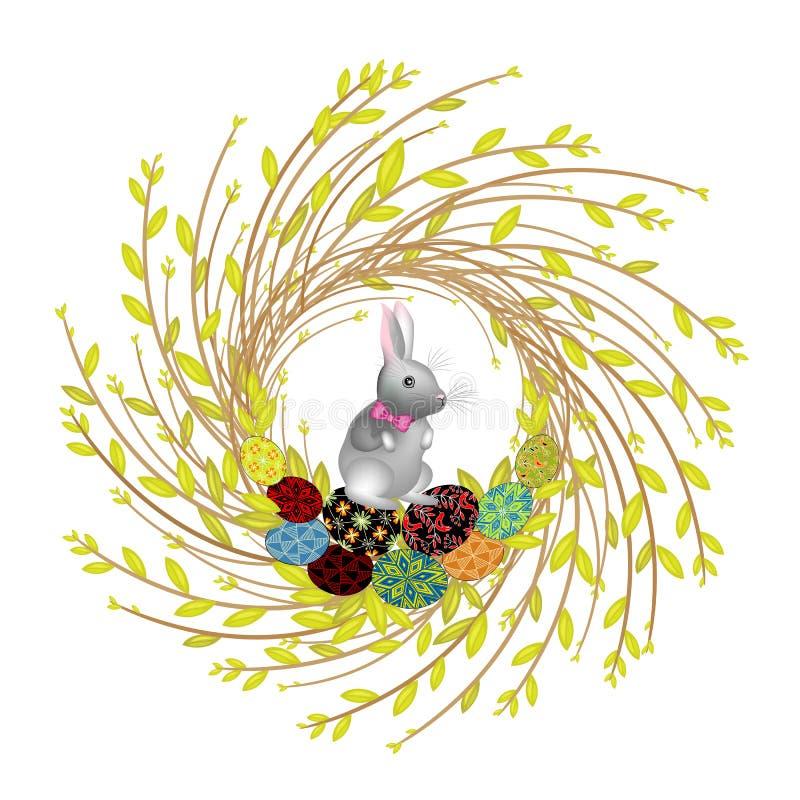 Венок от молодых ветвей вербы Состав украшен с красивыми пасхальными яйцами Внутрь кролик Символ весны иллюстрация вектора
