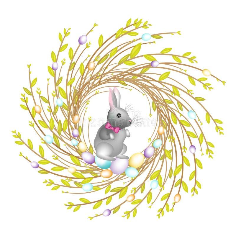 Венок от молодых ветвей вербы Состав украшен с красивыми пасхальными яйцами Внутрь кролик Символ весны бесплатная иллюстрация