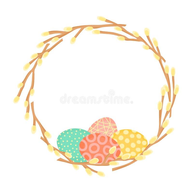 Венок пасхи сделанный из ветвей вербы и покрашенных яичек Праздничная рамка в векторе иллюстрация штока