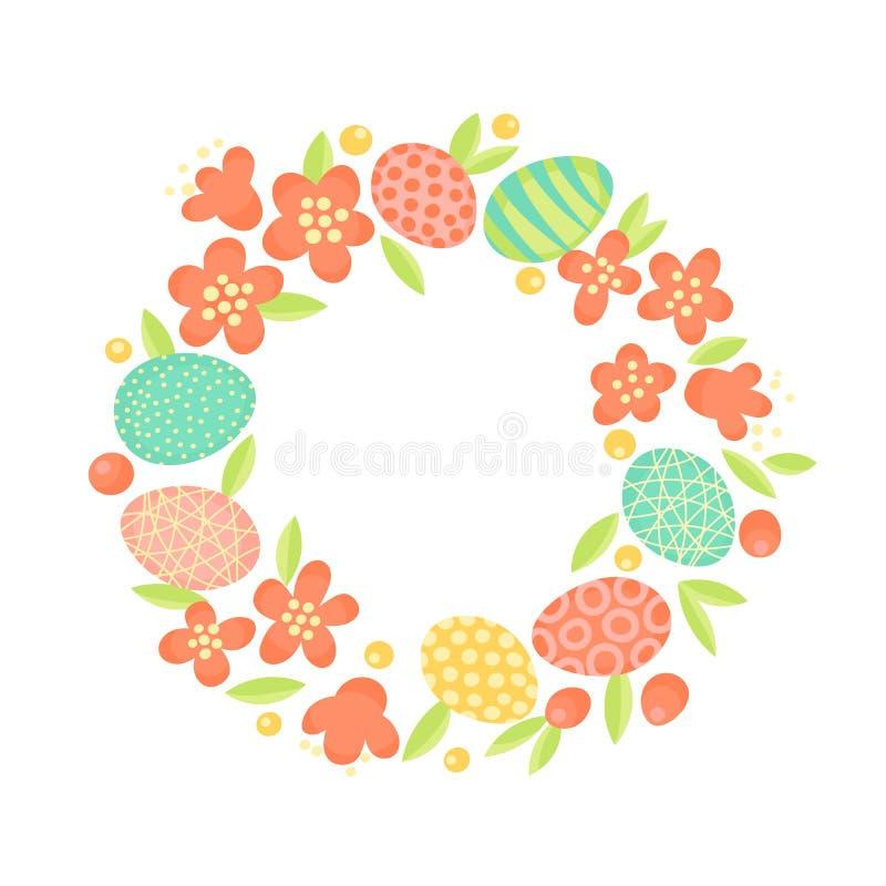 Венок пасхи цветков и покрашенных яичек Праздничная рамка в векторе иллюстрация вектора
