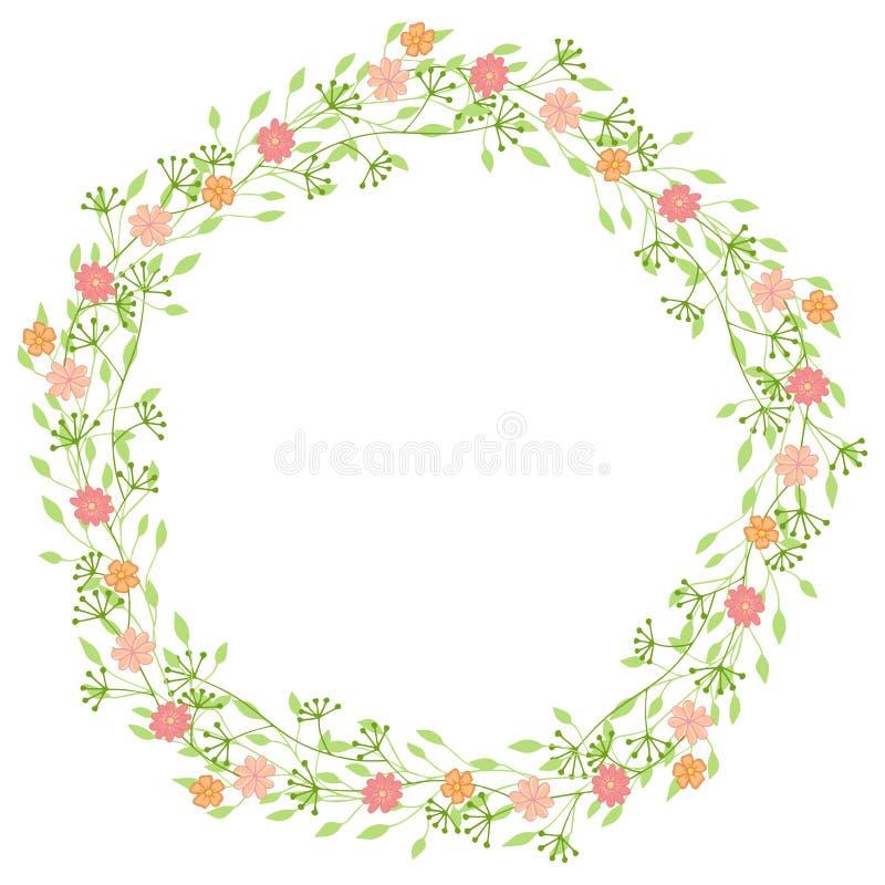 Венок полевых цветков с листьями Флористическая круглая рамка с местом для вашего текста бесплатная иллюстрация